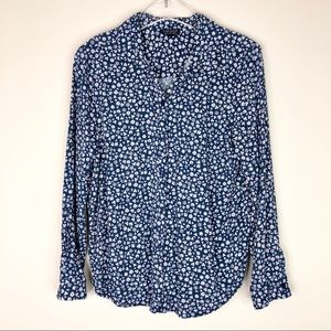 TOPSHOP Blue Micro Daisy Floral Button Front Shirt